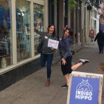 """Team """"Team Name"""" gets funky in front of Indigo Hippo at our October Crawl!"""