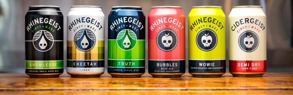 A row of Rhinegeist Brewery cans