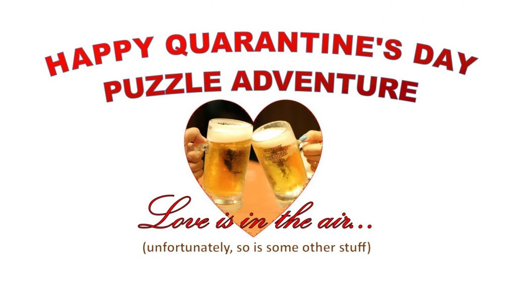 """A picture of two beer glasses clinking, inside a heart shape, with the text """"Love is in the Air (unfortunately, so is some other stuff)"""